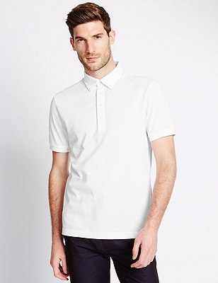 Cotton Rich Tailored Fit Polo Shirt with Linen, WHITE, catlanding