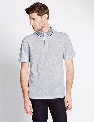 Pure Cotton Tailored Fit Piqué Polo Shirt, BLUE, catlanding