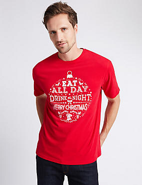 Pure Cotton Christmas Printed T-Shirt, RED, catlanding