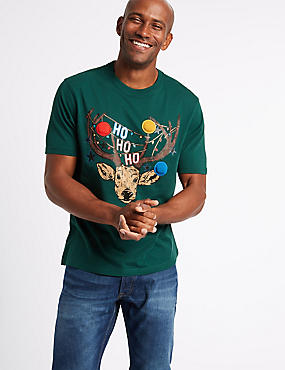 Pure Cotton Printed Crew Neck T-Shirt, GREEN, catlanding