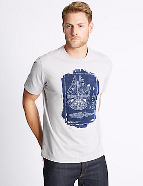 Pure Cotton Star Wars™ T-Shirt, GREY MIX, catlanding
