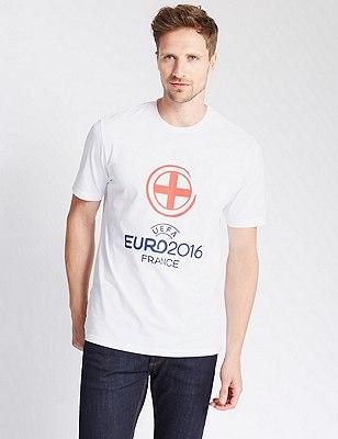 UEFA England Football T-Shirt, WHITE, catlanding