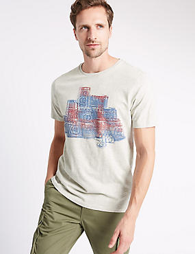 Tailored Fit Pure Cotton Printed T-Shirt, ECRU MIX, catlanding