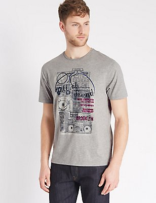 Cotton Rich Printed Crew Neck T-Shirt, GREY, catlanding