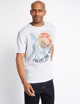 Pure Cotton Printed Crew Neck T-Shirt, WHITE, catlanding