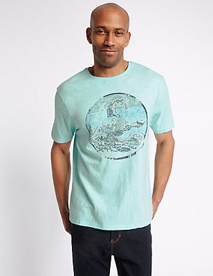 Pure Cotton Printed Crew Neck T-Shirt, LIGHT AQUA, catlanding