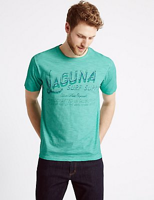 Pure Cotton Printed Crew Neck T-Shirt, JADE, catlanding