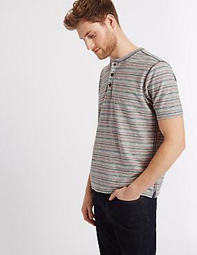 Camiseta 100% algodón con escote cerrado de rayas, MEZCLA DE GRISES, catlanding