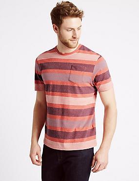 Slim Fit Pure Cotton Crew Neck T-Shirt, FLAME, catlanding