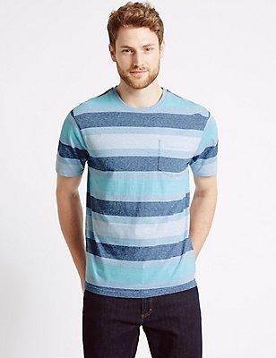 Slim Fit Pure Cotton Crew Neck T-Shirt, TURQUOISE, catlanding