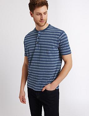 Camiseta 100% algodón con escote cerrado de rayas, MEZCLA DE TONOS DENIM, catlanding