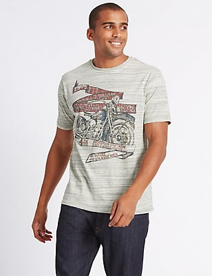 Cotton Rich Printed Crew Neck T-Shirt, ECRU MIX, catlanding