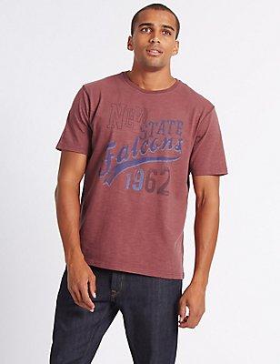 Pure Cotton Printed Crew Neck T-Shirt, DARK RASPBERRY, catlanding