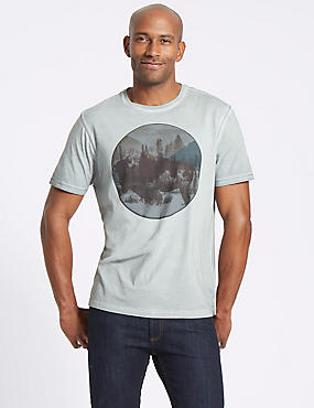 Pure Cotton Printed Crew Neck T-Shirt, SILVER GREY, catlanding