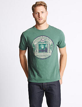 Pure Cotton Printed Crew Neck T-Shirt, DARK EVERGREEN, catlanding