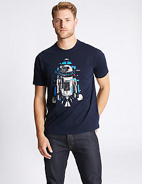 Pure Cotton Crew Neck Star Wars™ T-shirt, NAVY MIX, catlanding
