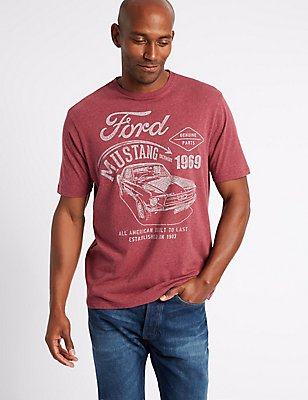 Pure Cotton Ford T-Shirt, BURGUNDY MIX, catlanding