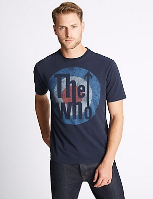 Pure Cotton Printed The Who T-Shirt, NAVY, catlanding