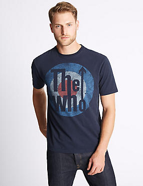 Pure Cotton Printed Crew Neck T-Shirt, NAVY, catlanding