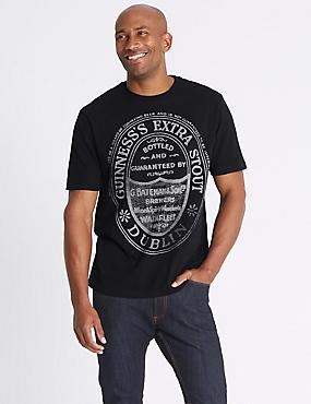 Pure Cotton Guinness Crew Neck T-shirt, BLACK, catlanding