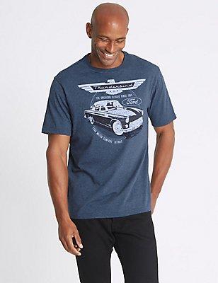 Pure Cotton Ford T-Shirt, DENIM MIX, catlanding