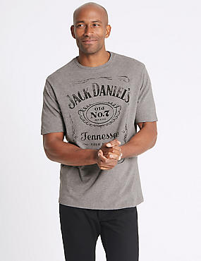 Pure Cotton Jack Daniels T-Shirt, GREY MARL, catlanding