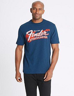 Pure Cotton Printed Crew Neck T-Shirt, LIGHT NAVY, catlanding