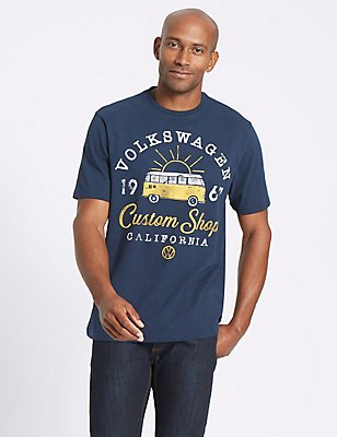 Pure Cotton Printed VW Crew Neck T-Shirt, NAVY, catlanding