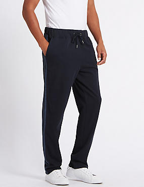 Cotton Rich Twin Stripe Joggers, NAVY MIX, catlanding
