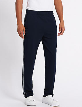 Cotton Rich Twin Stripe Joggers, NAVY, catlanding