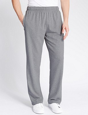 Cotton Rich Sweat Joggers with StayNEW™, GREY MARL, catlanding