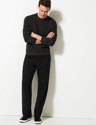 Cotton Rich Sweat Joggers with StayNEW™, BLACK, catlanding