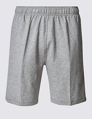 Elastic Waist Sweat Shorts, GREY MARL, catlanding
