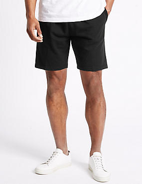 Elastic Waist Sweat Shorts, BLACK, catlanding