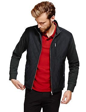 Funnel Neck Tailored Fit Zip Through Quilted Jacket