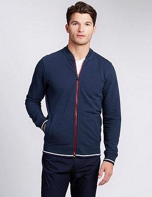 Cotton Rich Tailored Fit Birdseye Baseball Sweatshirt, NAVY, catlanding