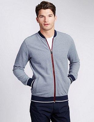 Cotton Rich Tailored Fit Birdseye Baseball Sweatshirt, NAVY/WHITE, catlanding