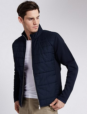 Cotton Rich Tailored Fit Padded Quilted Front Midweight Sweatshirt, NAVY, catlanding