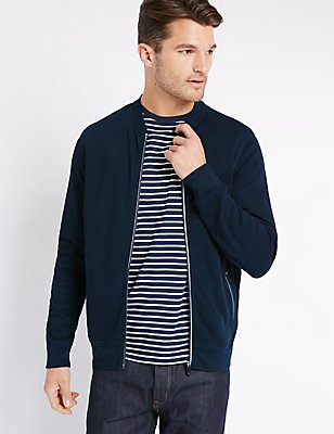 Pure Cotton Zipped Through Sweatshirt , NAVY, catlanding