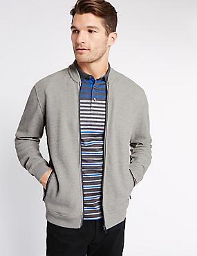 Pure Cotton Textured Baseball Sweatshirt, GREY, catlanding