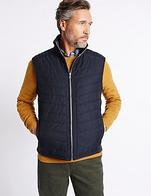 Cotton Rich Funnel Neck Gilet, NAVY MIX, catlanding