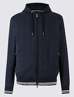 Cotton Rich Quilted Active Hoody, NAVY, catlanding