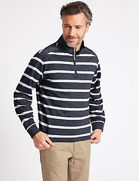 Cotton Rich Striped Half Zipped Sweatshirt, NAVY MIX, catlanding