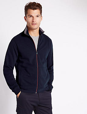 Tailored Fit Funnel Neck Sweatshirt, NAVY, catlanding