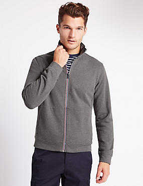 Tailored Fit Funnel Neck Sweatshirt, CHARCOAL, catlanding