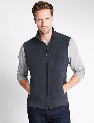 Tailored Fit Textured Gilet Fleece Top, NAVY, catlanding