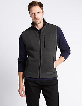 Tailored Fit Textured Fleece Gilet Top, CHARCOAL, catlanding