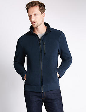 Tailored Fit Textured Funnel Neck Fleece Jacket, NAVY, catlanding