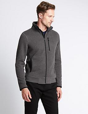 Tailored Fit Textured Fleece Top, CHARCOAL, catlanding