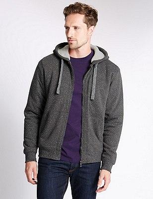 Tailored Fit Cotton Rich Fleece Top, CHARCOAL, catlanding